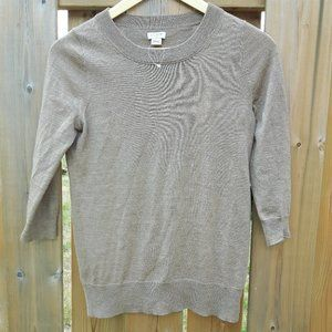 Classic J Crew Camel Sweater 3/4 length sleeves XS